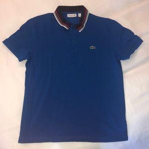 Lacoste men's polo: blue w/navy, white, red detail